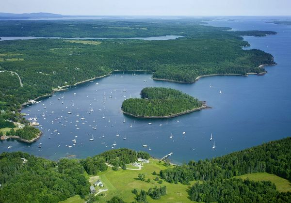 Harbor Island, seen here from above, was purchased recently by the Maine Coast Heritage Trust for $2.35 million. The island, home to just one cottage on its south side, will be preserved for conservation.