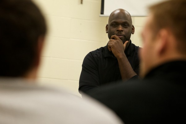 Former University of Maine tight end Daryl Fort of Mentors in Violence Prevention leads a frank discussion about date rape and appropriate sexual behavior with the University of Southern Maine men's track team in Gorham on Wednesday, Jan. 9, 2013.