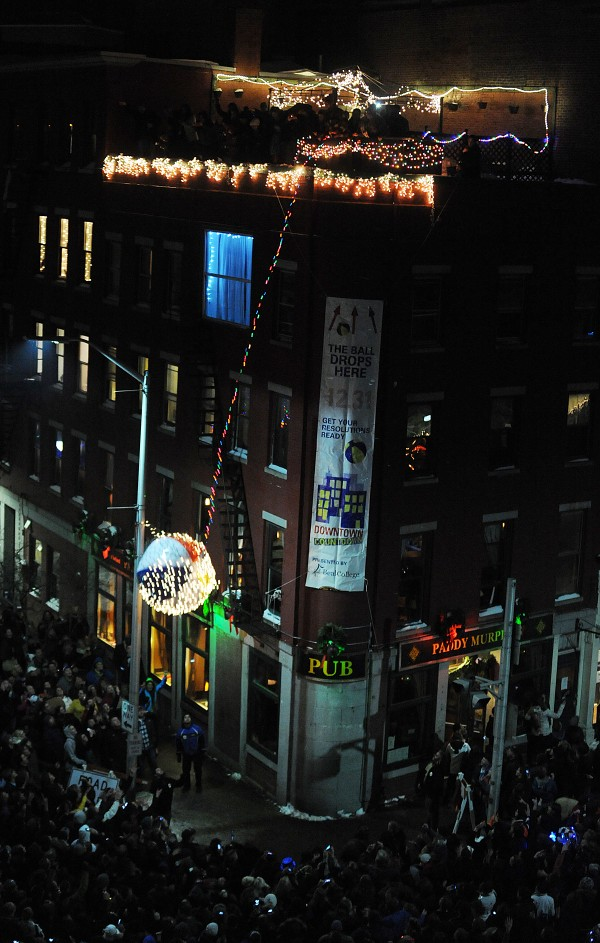 Bangor's beach ball drop took place right on schedule as a large crowd packed West Market Square on Monday night.