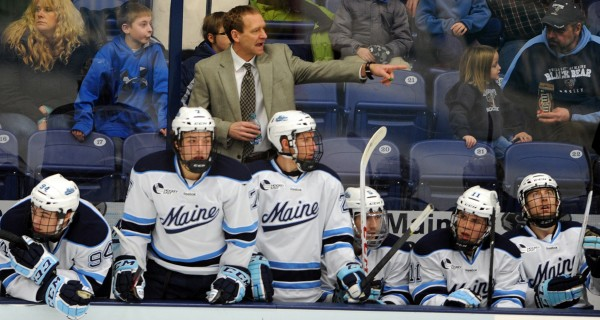 University of Maine's head coach Tim Whitehead shouts to a player during the first period against Merrimack College at Alfond Arena Friday night. Maine, which tied Merrimack Friday night and lost Saturday night, finds itself in a battle for a Hockey East playoff spot.