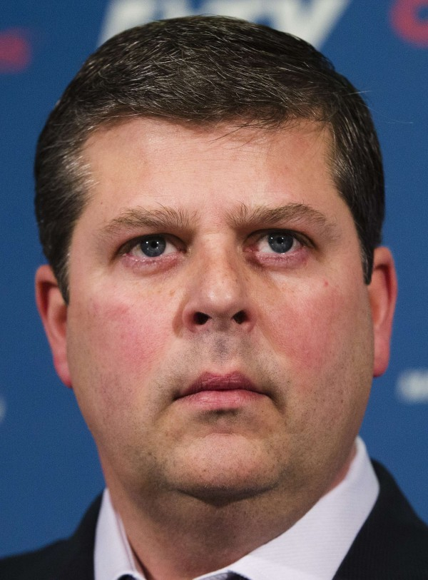Dave Nonis speaks during a news conference after he replaced Brian Burke to take over the general manager job for the NHL team the Toronto Maple Leafs, in Toronto Jan. 9, 2013.