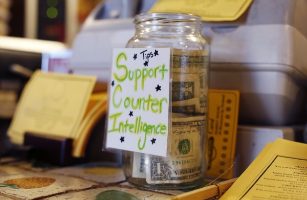 A tip jar in Portland calls for customers to &quotSupport Counter Intelligence.&quot