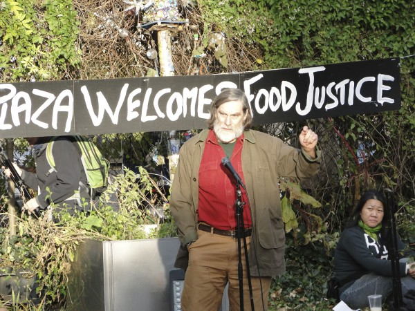 Jim Gerritsen of Bridgewater made his first trip to New York City to address the Dec. 4, 2011, &quotFarmers' March&quot to Zuccotti Park organized by the Food Justice Committee of the Occupy Wall Street movement.