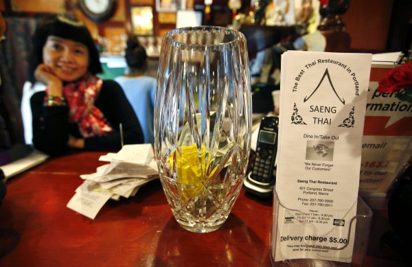 Perhaps one of Portland's most elegant tip jars sits on the counter at Arisara Thithuan's Saeng Thai restaurant on Congress Street.