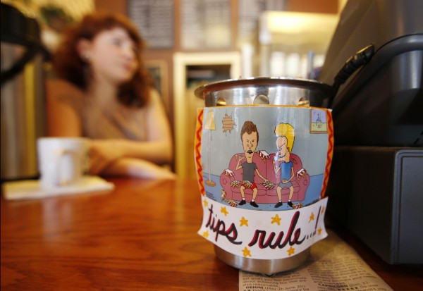 Beavis and Butthead let customers know &quottips rule!&quot at Spartan Grill in Portland's Monument Square.