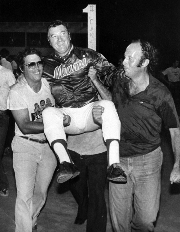 Ron Fraser, the University of Miami baseball coach baseball coach from 1963-92. He was 79. Here, Fraser is carried in this 1978 file photo.