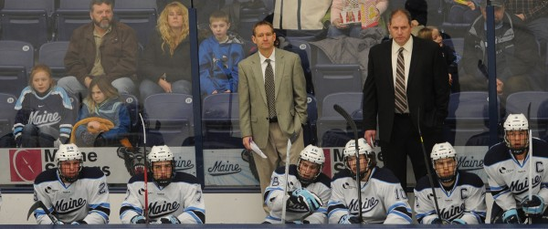 University of Maine head coach Tim Whitehead watches the first period the Black Bears played Merrimack College on Friday night, Jan. 18, 2013, at the Alfond Arena.