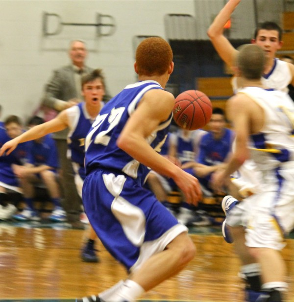 Lee Academy's Julian Diggs steals the ball from the Hermon Hawks during their game Thursday evening, Jan. 24, in Hermon.