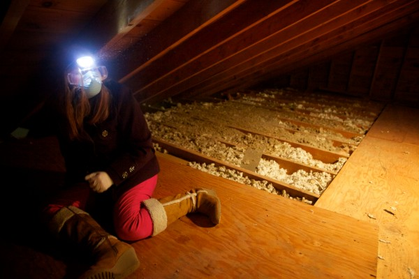 Savannah LeClerc wears a headlamp in an attic as Brunswick Junior High School students, working with professionals from Upright Frameworks, perform energy efficiency upgrades to a small group home run by the Independence Association in Brunswick on Tuesday, Jan. 29, 2013.