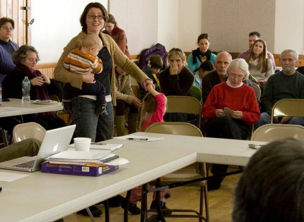 Harpswell resident Jennifer Nadeau, with her 3-year-old daughter and 1-year-old son, was one of many who spoke Friday, Jan. 18, 2013, in support of Harpswell Coastal Academy.