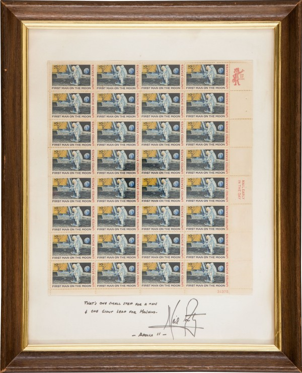 The circa 1970 autograph by astronaut Neil Armstrong brought $38,838 in a recent sale of space exploration memorabilia at Heritage Auctions.