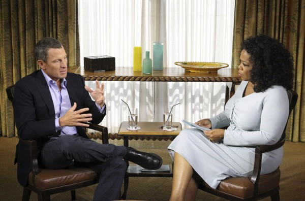 Cyclist Lance Armstrong is interviewed by Oprah Winfrey in Austin, Texas, in this January 14, 2013 handout photo courtesy of Harpo Studios. Armstrong finally admitted to using performance enhancing drugs during his cycling career, describing himself as a &quotbully&quot and a &quotdeeply flawed character&quot in an interview with talk show host Winfrey.