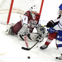 Blue Devils blank Rams 2-0 behind Bourassa's 18 saves