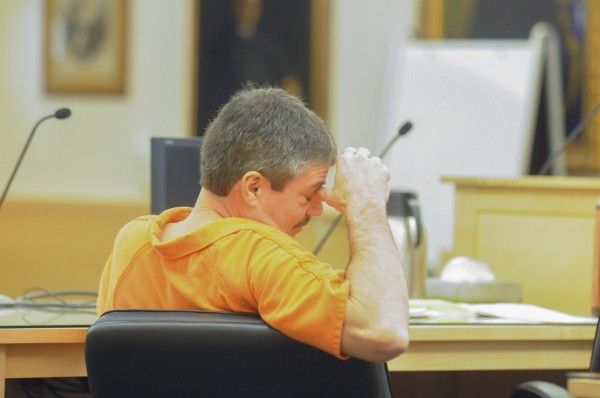 Jeffrey Macy awaits sentencing at the Penobscot Judicial Center in Bangor on Monday, Jan. 7, 2013.