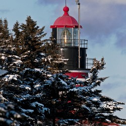 Winter scenic of West Quoddy Head Lighthouse , Lubec Maine
