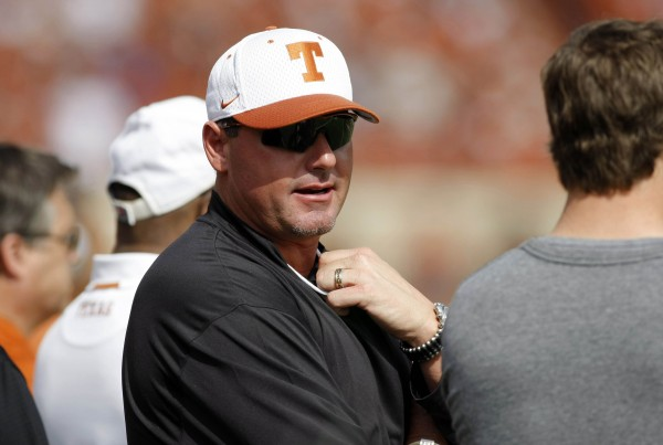 Former major league baseball pitcher Roger Clemens watches a game between the Texas Longhorns and Iowa State Cyclones in the first quarter at Darrell K Royal-Texas Memorial Stadium on Nov. 10, 2012.