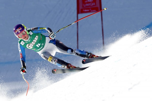 Alice McKennis from the U.S. speeds down the slope during  the Alpine Skiing World Cup women's downhill ski race in St. Anton, January 12, 2013.