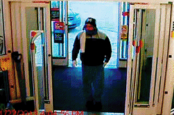 A surveillance image of the suspect in a Tuesday robbery at the CVS pharmacy on Stone Street in Augusta.