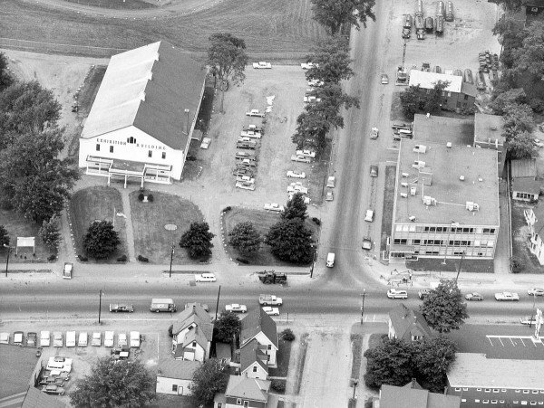 An aerial shot from 1963 of the old Bangor Auditorium. It would be demolished two years later.
