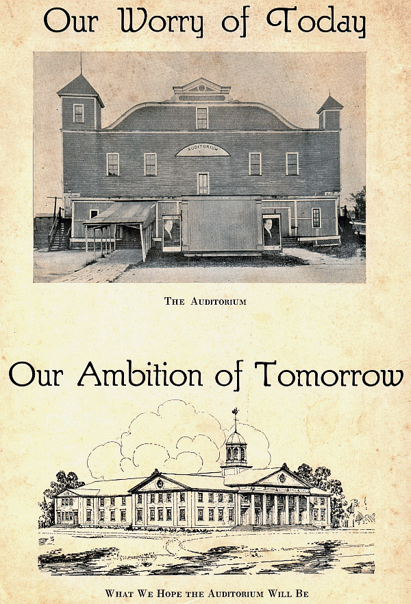 This flyer is from a 1927 musical performance. It depicts the 1897 building, in dilapidated condition, contrasting with a concept drawing of what some hoped the new auditorium would look like. This Greek Revival style never made it to reality.