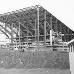 The steel frame of the Bangor Auditorium is up in this 1954 photo.