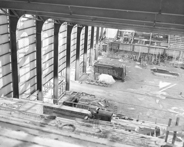 An interior shot of the Bangor Auditorium under construction in 1954.