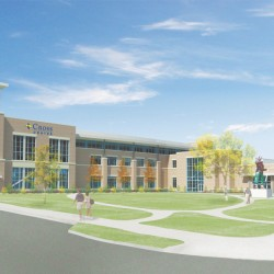 A rendering of the new Cross Insurance Center as it will appear when it's completed this fall. It looks pretty much this way now; most of the exterior work is done, and crews are working hard on the interior.