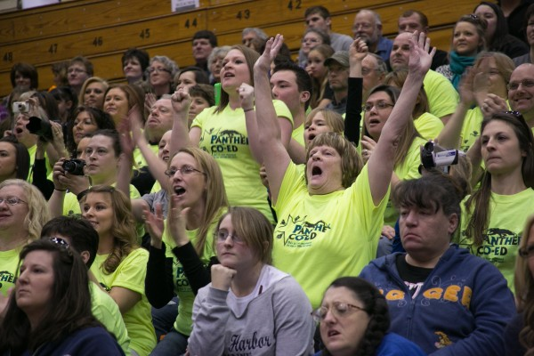 Fans of the Central Aroostook High School cheerleading squad cheer during the Eastern Maine regional cheerleading tournament on Saturday, January 26 , 2013. Central Aroostook finished second.