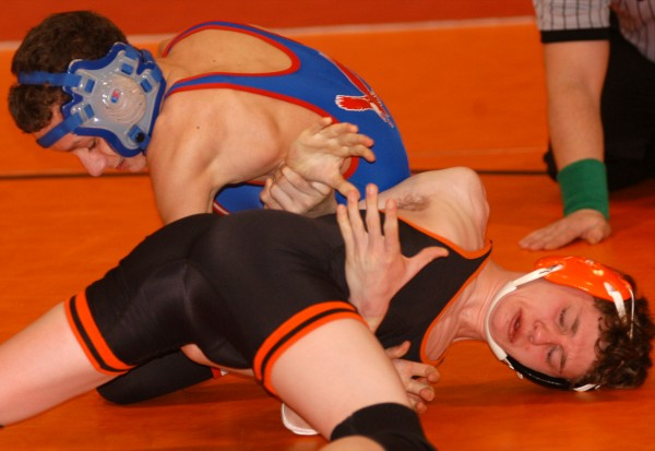Skowegan's Mike Dourant is tied up by Mount Ararat's Damian Grubb in their 106-pound match at the KVAC Championships on Saturday at Cony High School in Augusta.