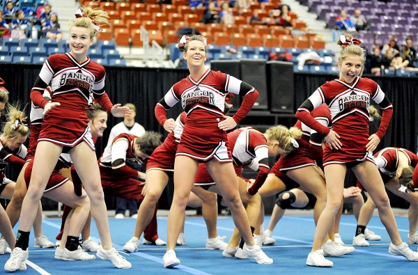 Bangor High School competes during the Class A East Regional Cheering Competition at the Augusta Civic Center on Saturday.