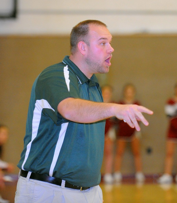 Oxford Hills High School's girls varsity basketball coach Nate Pelletier during the game agains Bangor High School in Bangor Monday.