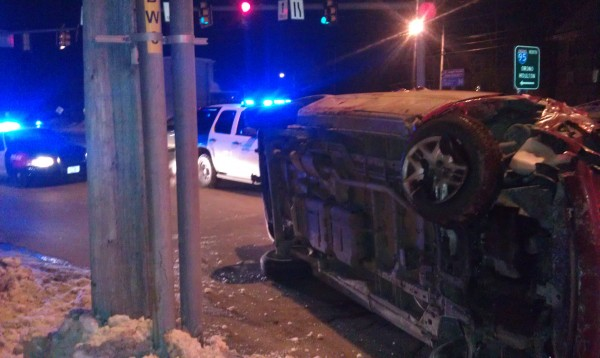Accident on Broadway in Bangor on Saturday night, Jan. 5, 2013.