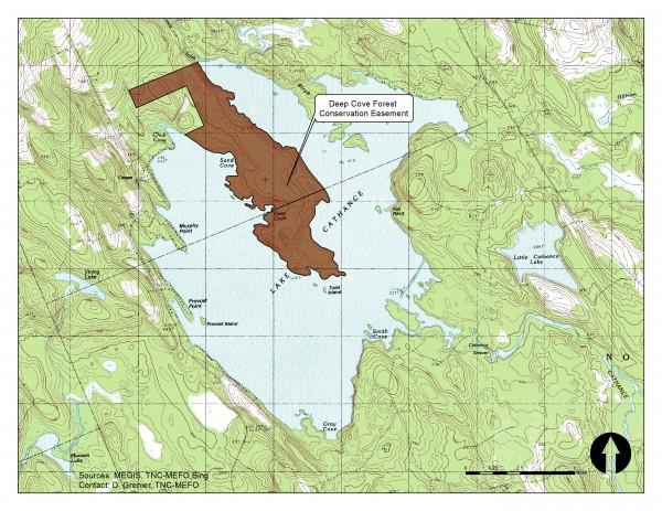 Courtesy image of the donated land on Lake Cathance.