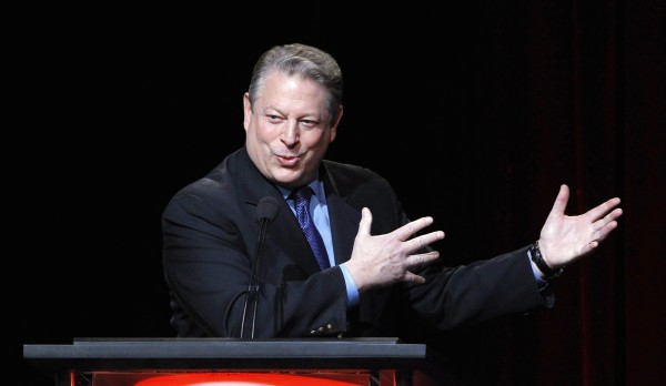 Former U.S. Vice President and Current TV Chairman and co-founder Al Gore speaks during the panel for Current TV's &quotPolitically Direct&quot at the Television Critics Association winter press tour in Pasadena, Calif. on Jan. 13, 2012.  Al Jazeera said Jan. 3, 2013, it will buy the struggling cable channel in a move that will boost the Qatar-based broadcaster's footprint in the United States.