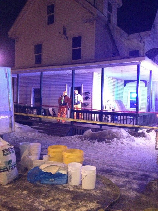 The Maine Drug Enforcement Agency arrested and charged three people with trafficking in methamphetamine and endangering the welfare of a child on Tuesday, Jan. 29, 2013, after executing a search warrant at an apartment house at 60 Military Street, Apartment A, in Houlton, pictured here.