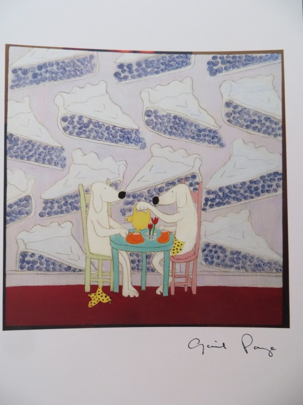 A selection of notecard artistry by Gail Page. Her whimsical animals and teapots are steeped in curious charm.