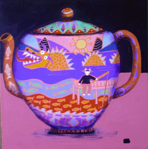 From a collection of Chinese teapots that Gail Page painted recently for an artists' event in Blue Hill.