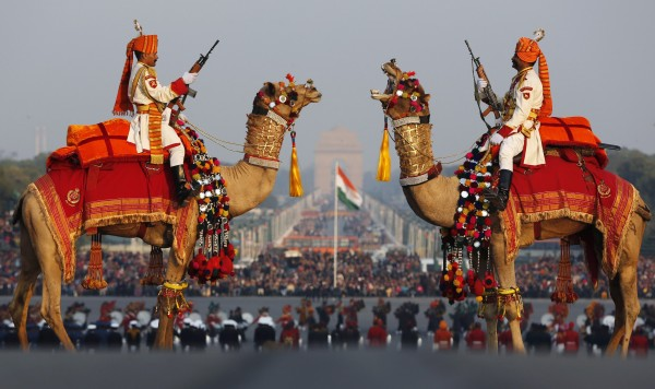 India's Border Security Force soldiers ride their camels as they rehearse for the &quotBeating the Retreat&quot ceremony in New Delhi Jan. 27, 2013. The ceremony symbolizes retreat after a day on the battlefield, and marks the official end of the Indian Republic Day celebrations. It is held every year on January 29.