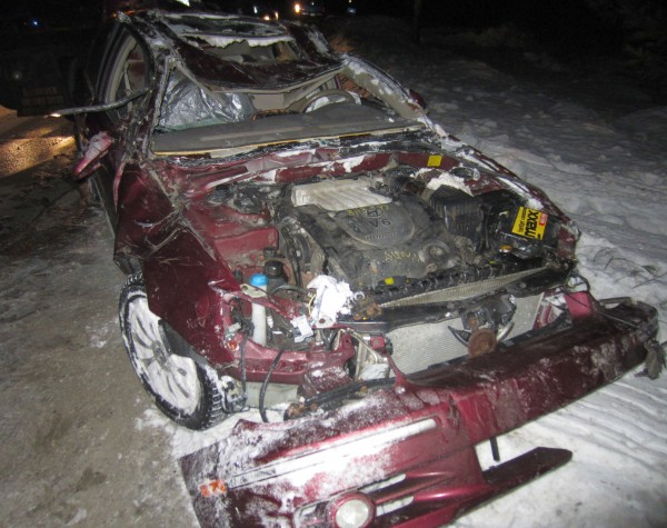 The 2003 Hyundai Sonata destroyed in the crash that killed Joshua Lavine, 31, of Wilton.