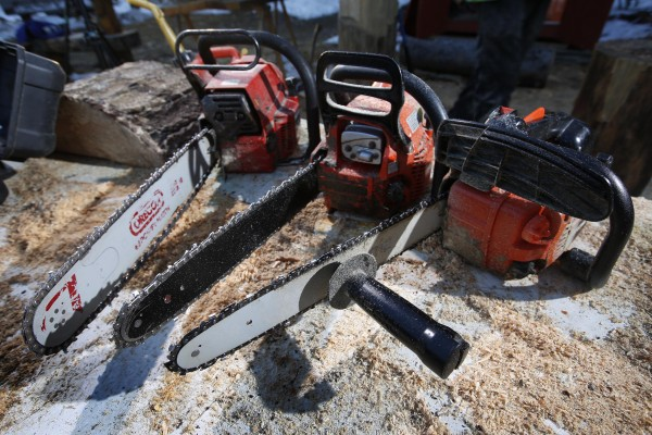 Turner uses three regular chain saws to create his art. The only modification is a handle he added to the bar of the saw he uses for detail work.