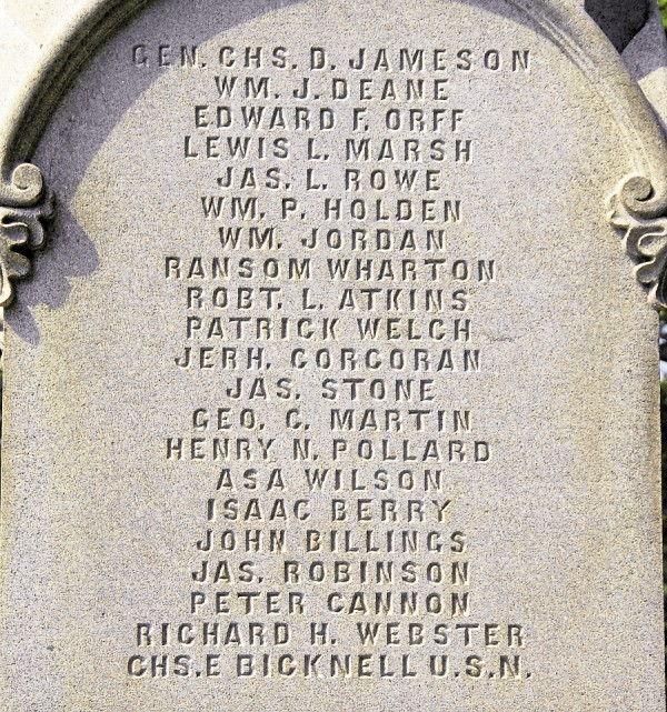 The names of Bangor soldiers lost during the Civil War were engraved on three sides of the Soldiers' Monument dedicated in June 1864. Atop the list on the side facing Veazie was the name of Col. Charles Jameson.