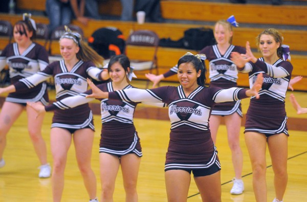 The Nokomis High School cheerleaders perform during half time of the game against Gardiner High School on Tuesday evening in Newport.