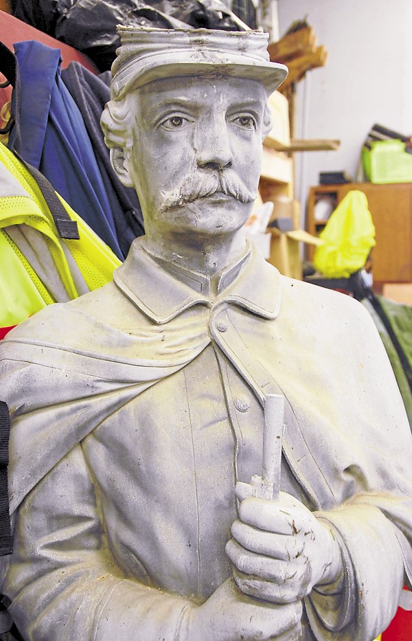 After being removed from its Webster Park pedestal in September 2008, the Orono Civil War statue was stored in the Blethen Building, which houses Orono Recreational and Parks. The Orono Historical Society paid for initial repairs to the monument, which had a bad split in its head. The statue must undergo additional repairs before it can be returned to Webster Park. Photo taken on Thursday, Jan. 17, 2013.