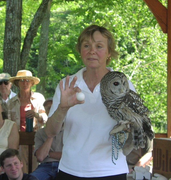 Barbara Tomlinson with barred owl and egg,