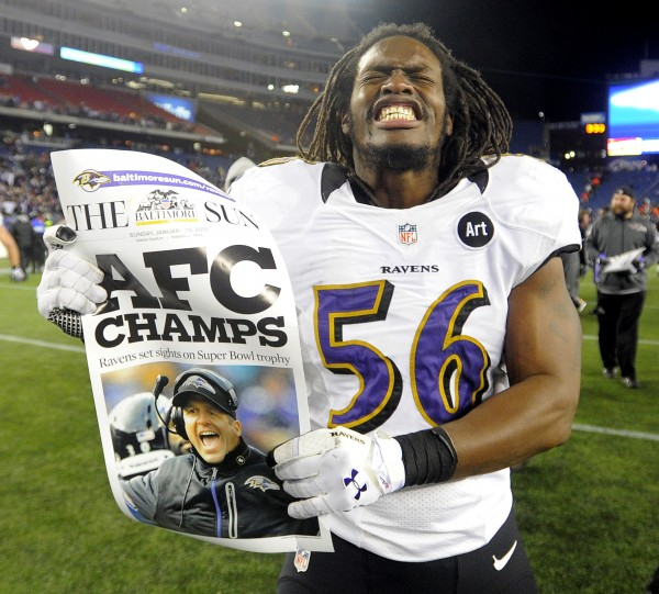 Baltimore Ravens Josh Bynes at the end the AFC Championship game at Gillette Stadium on Sunday, January 20, 2013, in Foxboro, Massachusetts. The Baltimore Ravens defeated the New England Patriots, 28-13.