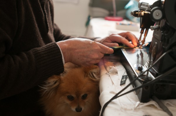 Shyka keeps his dog, Foxy, in his lap while he sews so she will not bark at the passing mailman, he said.