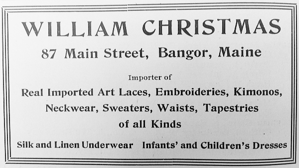 The first ad William Christmas had for his business in 1919.