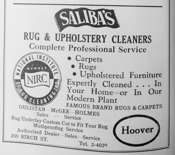 "Saliba's had been in business about 7 years before this 1957 ad featured what would become the company's iconic ""flying carpet"" logo. At this time, the company was still on Birch Street, but would move to the old McLaughlin Warehouse on the Bangor waterfront in the early 1960s when it outgrew its space."
