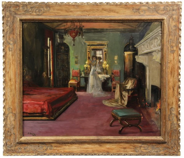 Oil on canvas painting, 'Mrs. Rosen's Bedroom, by Sir John Lavery.