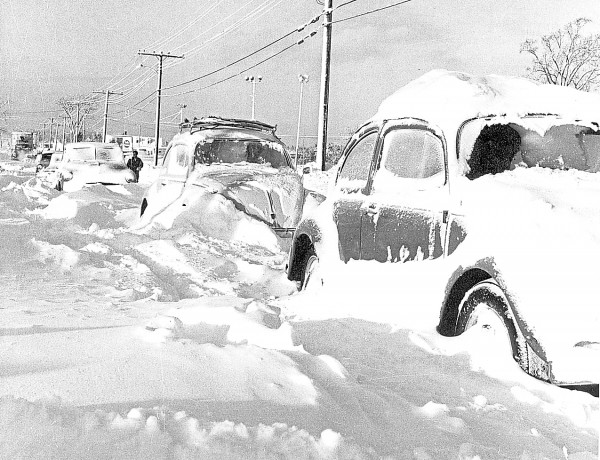 After 25.5 inches of snow fell on Bangor on Dec. 30, 1962, two Volkswagen Beetles were among the vehicles abandoned on Outer Hammond Street near Pilots Grill.